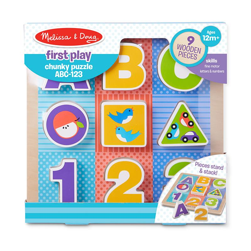 First Play Wooden ABC-123 Chunky Puzzle - Happki