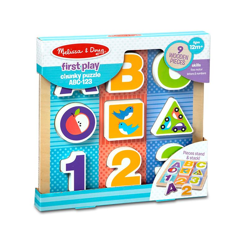 First Play Wooden Abc 123 Chunky Puzzle