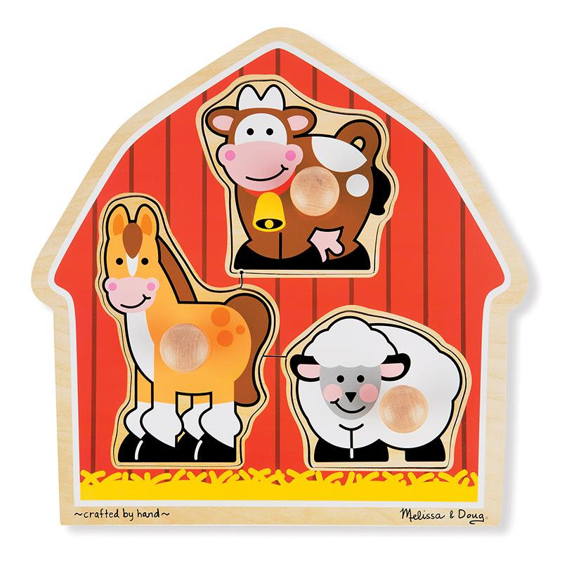 Barnyard Animals Jumbo Knob Puzzle - 3 Pieces - Happki
