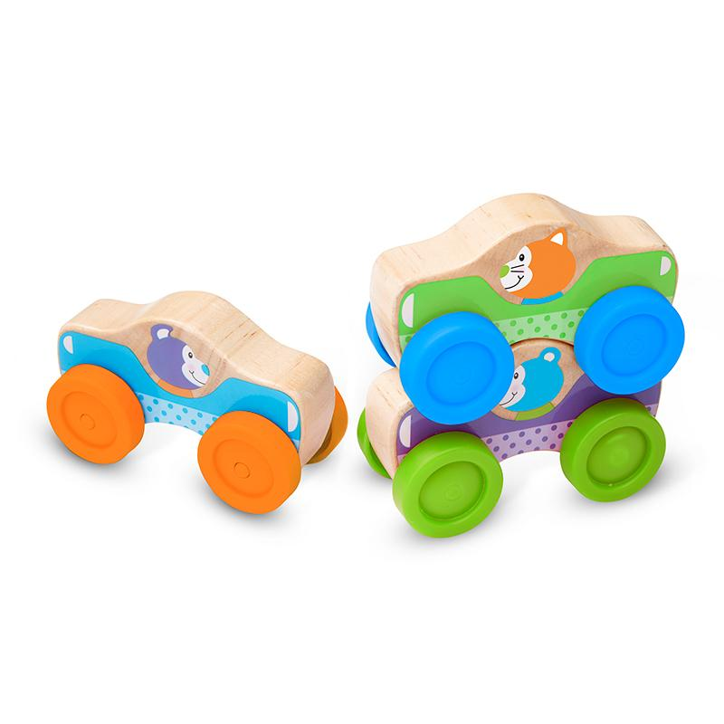 First Play Wooden Animal Stacking Cars - Happki