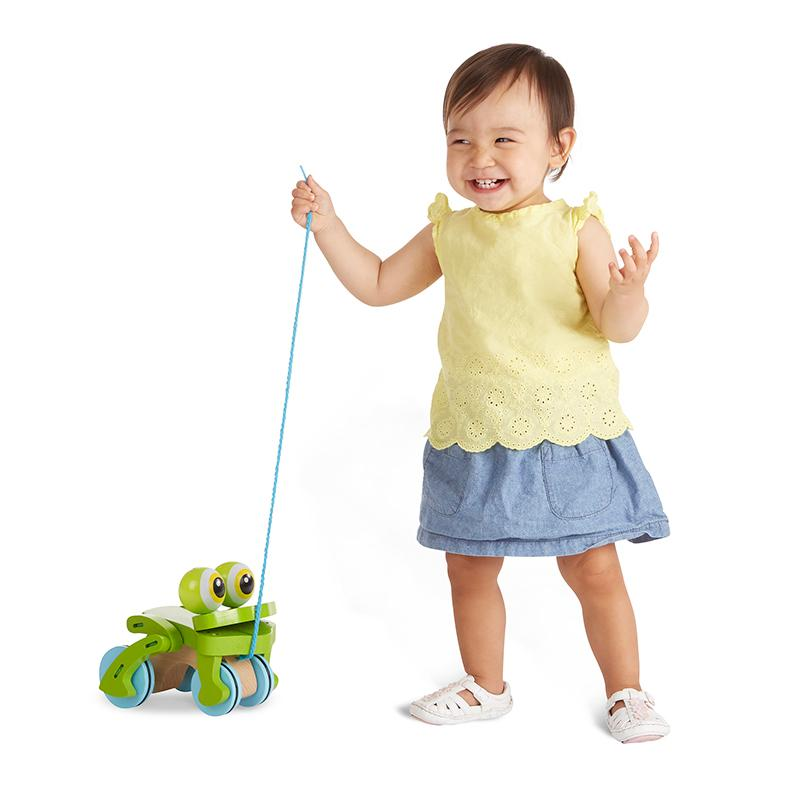First Play Frolicking Frog Wooden Pull Toy - Happki