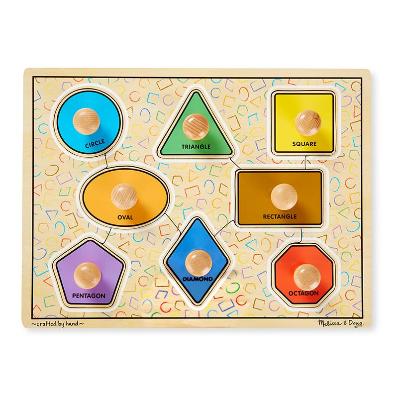 Deluxe Jumbo Knob Wooden Puzzle - Geometric Shapes (8 pcs) - Happki