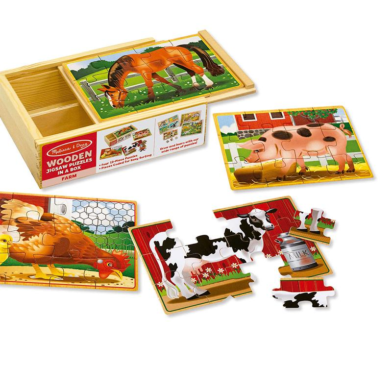 Farm Animals Jigsaw Puzzles in a Box - Happki
