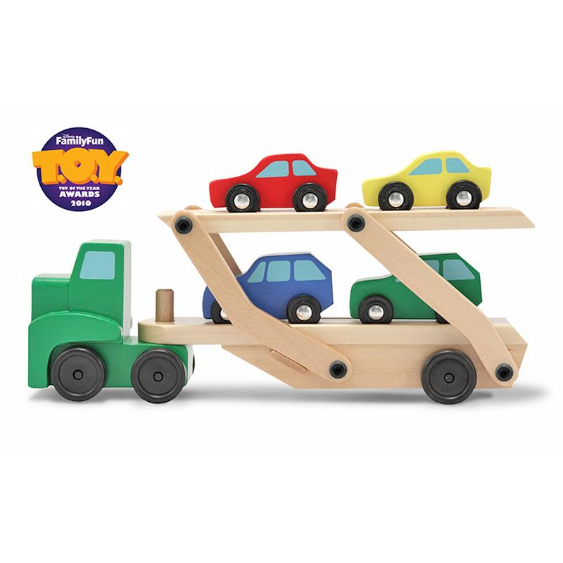 Car Carrier Truck & Cars Wooden Toy Set - Happki
