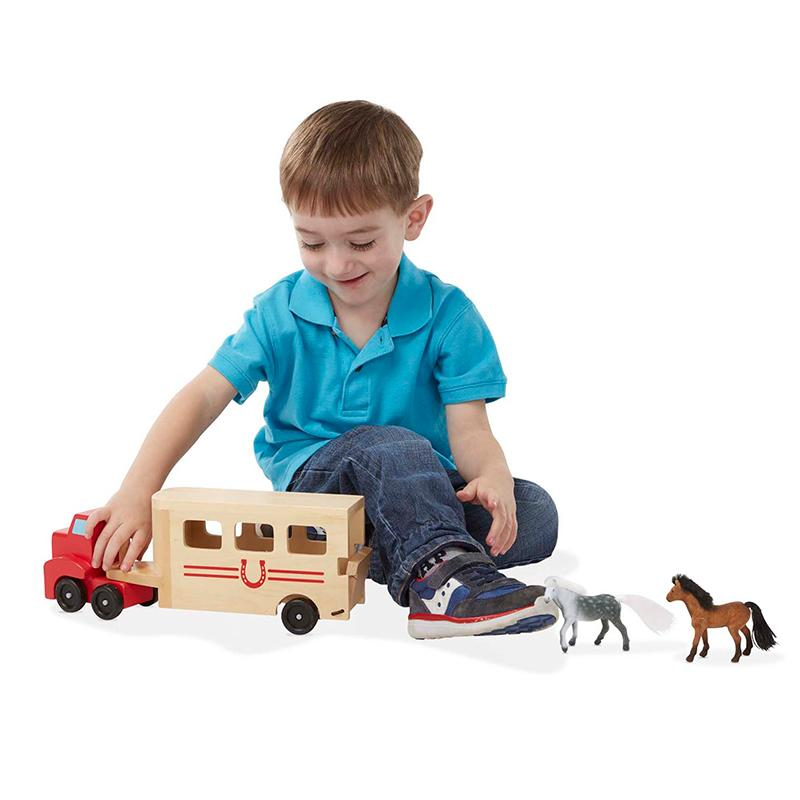 Horse Carrier Wooden Vehicles Play Set - Happki