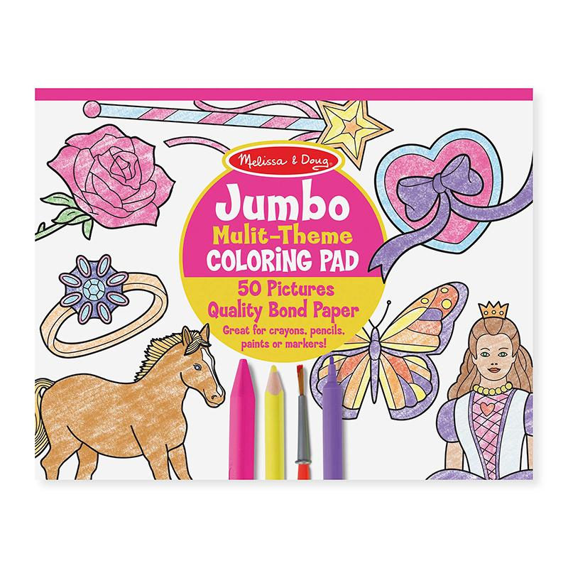 Jumbo 50-Page Kids' Coloring Pad - Horses, Hearts, Flowers, and More - Happki