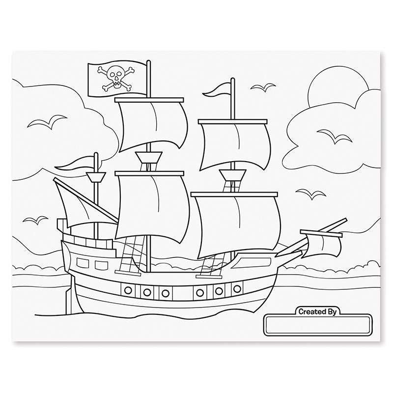 Jumbo 50-Page Kids' Coloring Pad - Space, Sharks, Sports, and More - Happki