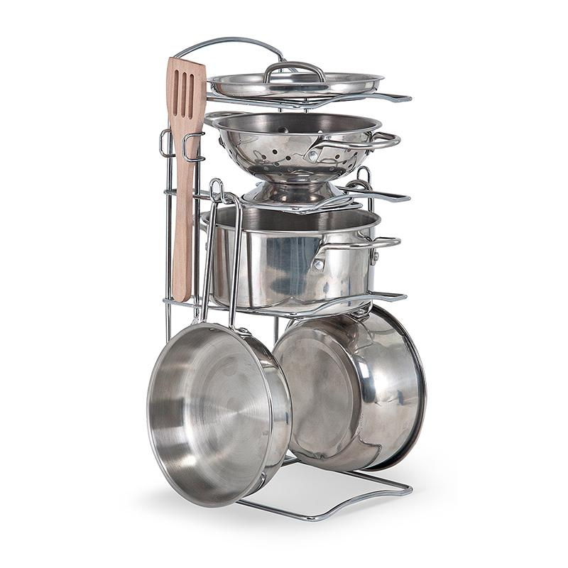 Let's Play House! Stainless Steel Pots & Pans Play Set - Happki