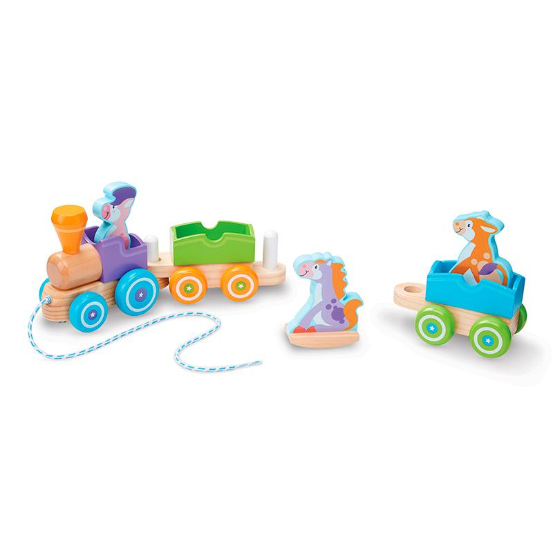 First Play Wooden Rocking Farm Animals Pull Train - Happki