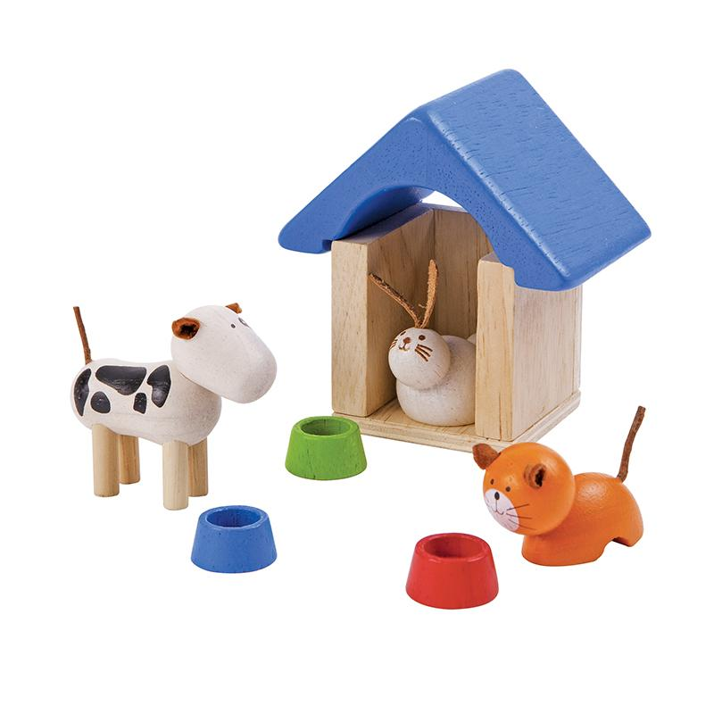 PLAN TOYS PETS /& ACCESSORIES SET Dog Cat Rabbit Kennel 7314 />NEW/<
