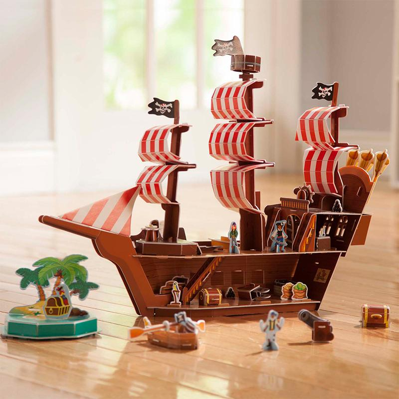Pirate Ship 3D Puzzle and Play Set In One - Happki