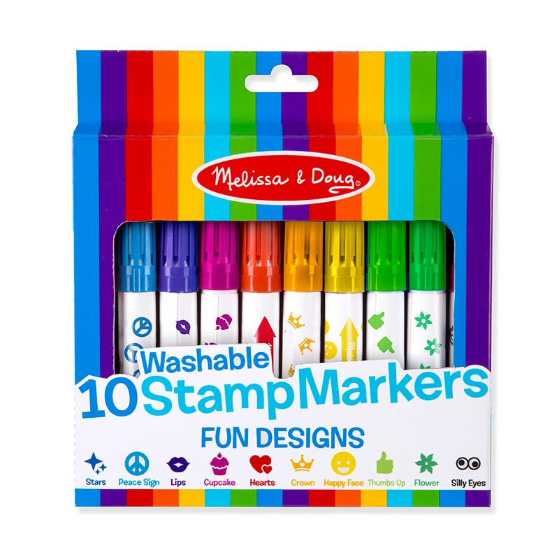 10 Washable Stamp Markers - Fun Designs - Happki