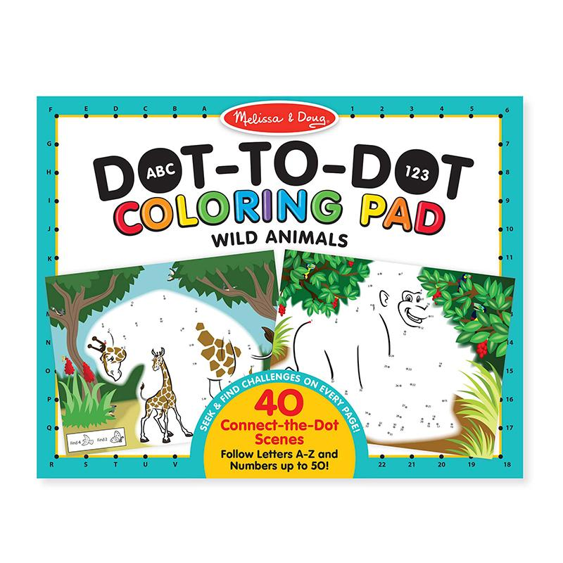 ABC 123 Dot-to-Dot Coloring Pad - Wild Animals - Happki