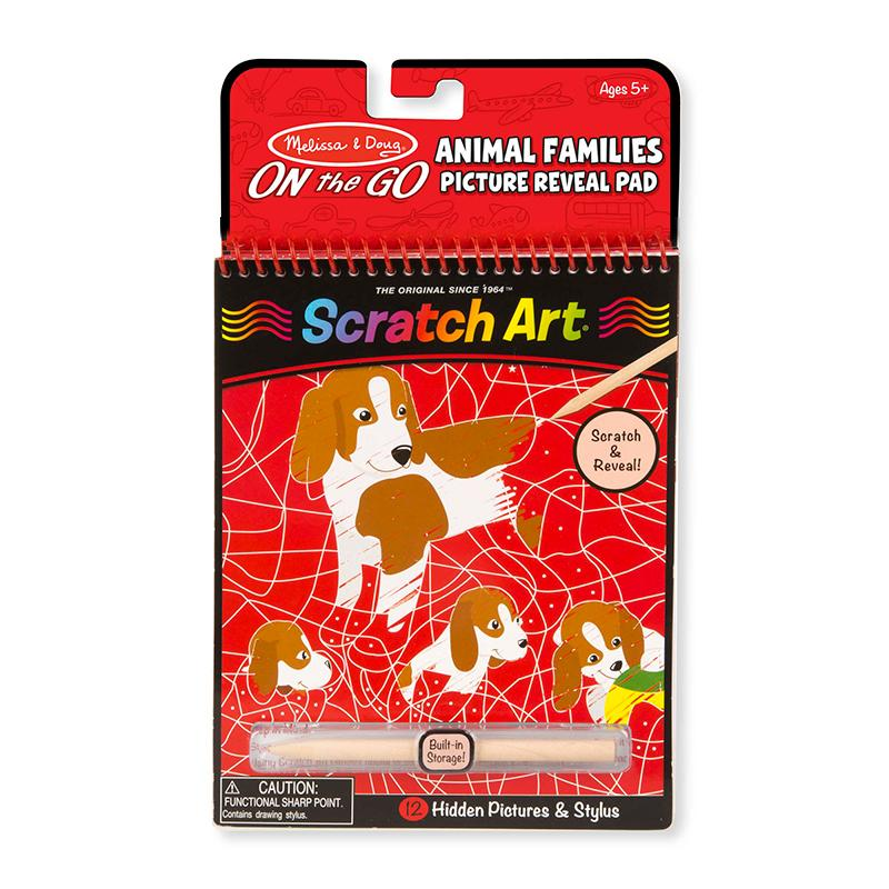 On the Go Scratch Art: Animal Families Hidden-Picture Pad - Happki
