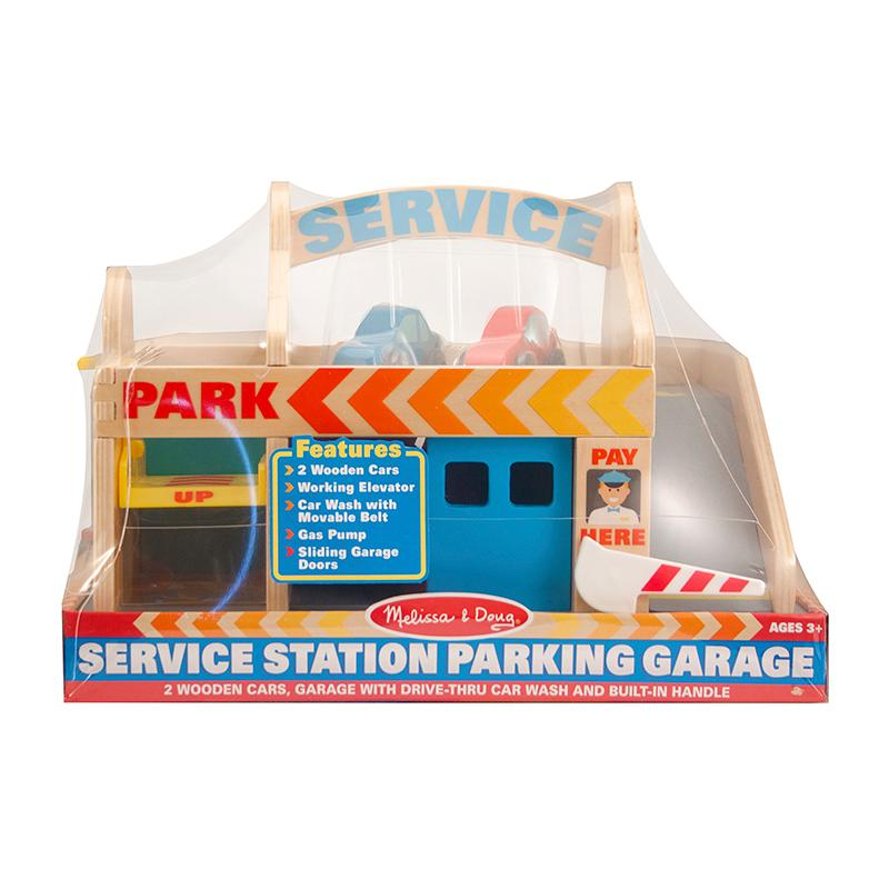 Gas Station With Drive Thru Car Wash >> Melissa Doug Service Station Parking Garage With 2 Wooden