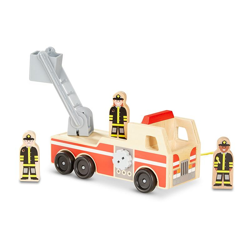 Classic Wooden Fire Truck Play Set - Happki