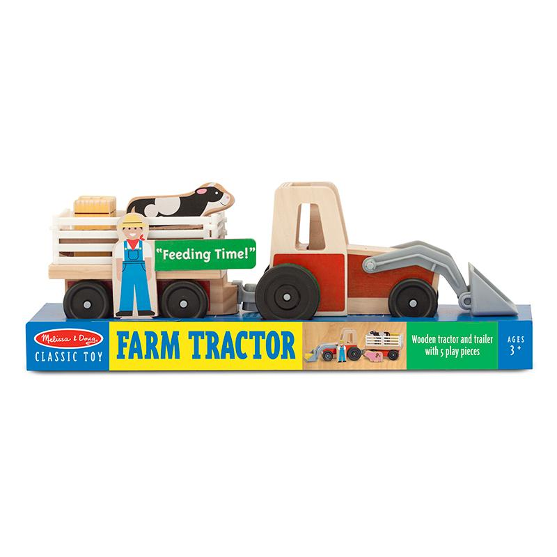 Classic Wooden Farm Tractor Play Set - Happki