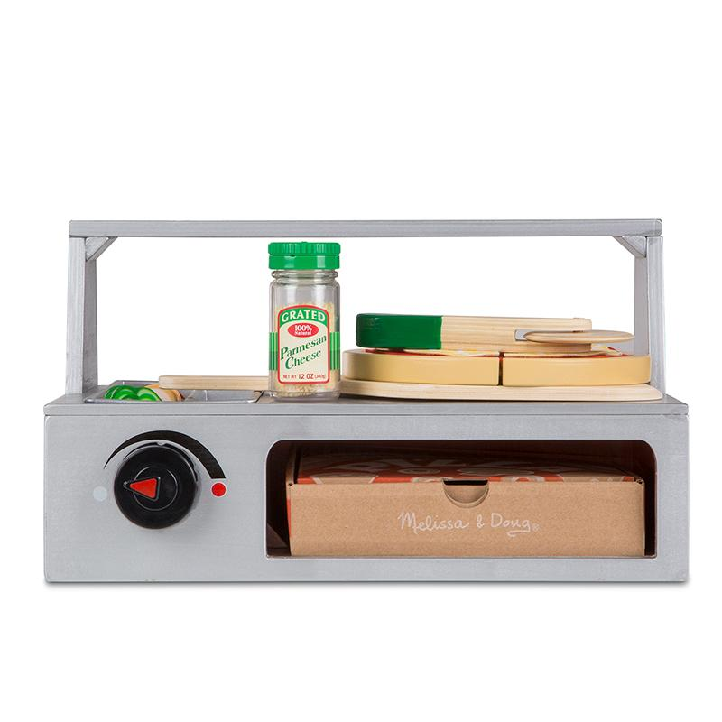 Top Bake Pizza Counter Wooden Play Food Happki