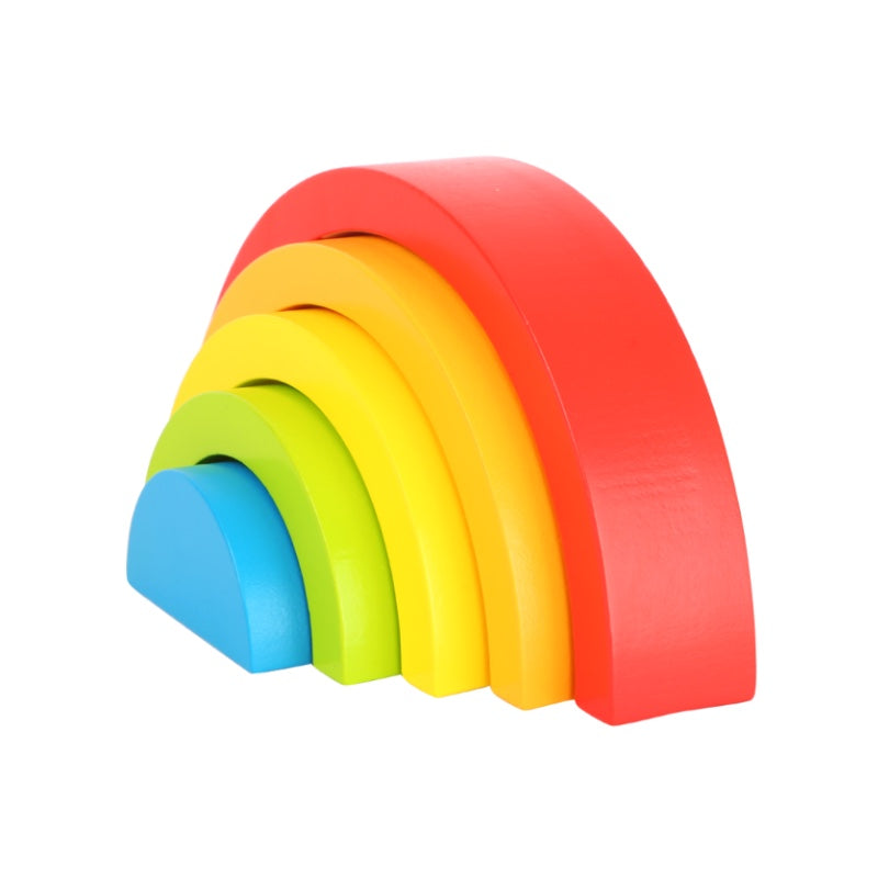 Small Wooden Building Blocks Rainbow - Happki