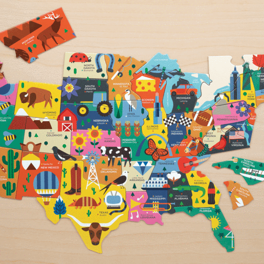 Map of The U.S.A Geography Puzzle - Happki