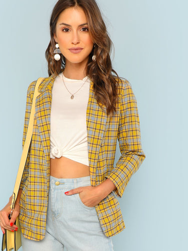 Notch Plaid Blazer - VINT