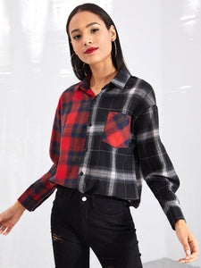 Plaid Colorblock Blouse - VINT
