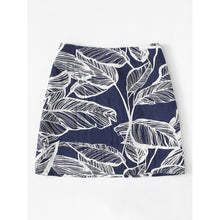 Leaves Print Button Front Skirt - VINT