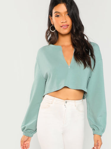 Zip Up Crop Sweatshirt - VINT