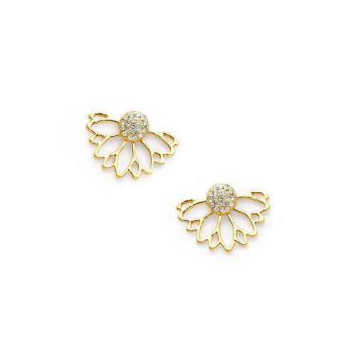 Rhinestone Lotus Earrings - VINT