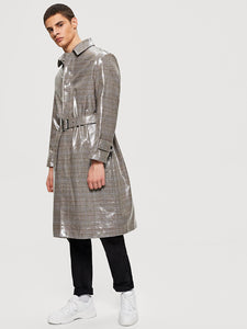 Plaid Longline Coat - VINT