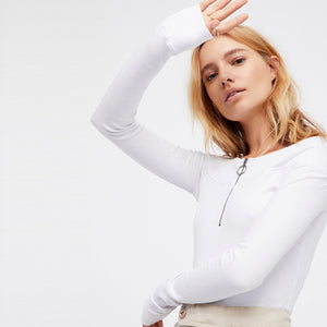 Zipped Up Long Sleeve Top - VINT
