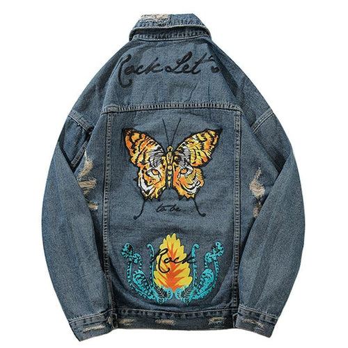Tiger Eye Butterfly Denim Jacket - VINT