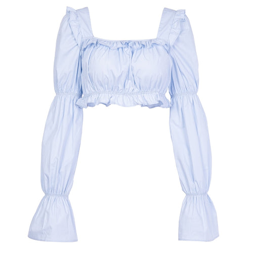 Jade Ruffled Crop Top - VINT