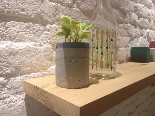 Cement planter on book shelf with pothos plant