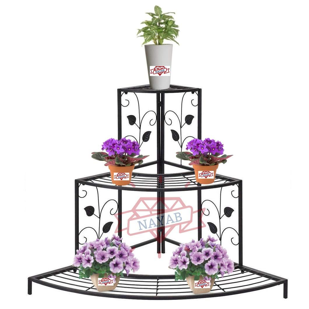 NAYAB Floral Design Metal Step Style 3 Tier Corner Shelf for Flower Pots Planters Holder Display Stand for Garden Balcony Indoor Outdoor Shoe Rack (Black)