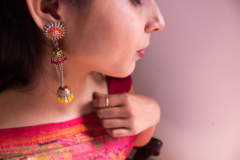 Orange Dangling Jhumki - Panigh Tradition in You Jewellery