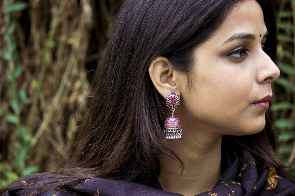 Adorable Pink Hand-painted Jhumka - Panigh Tradition in You Jewellery