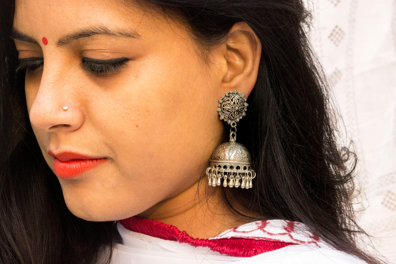 Beautiful German Silver Jhumka - Panigh Tradition in You Jewellery