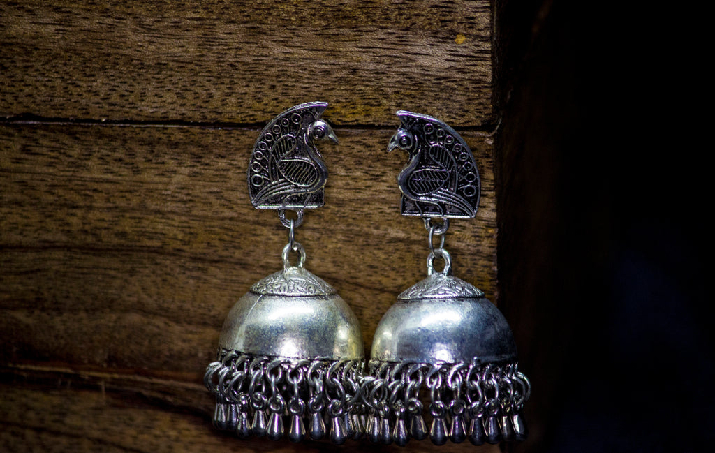 Peacock Stud German Silver Jhumka - Panigh Tradition in You Jewellery