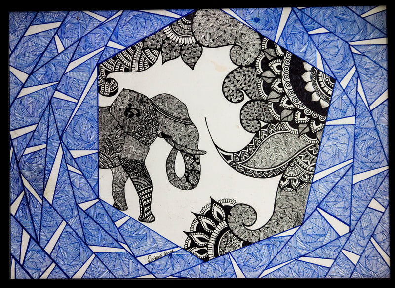 Elephant Doodle Art Painting - Panigh Tradition in You Jewellery