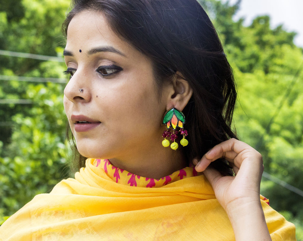 Leaf Terracotta Earring embellished with Maroon Stone Beads - Panigh