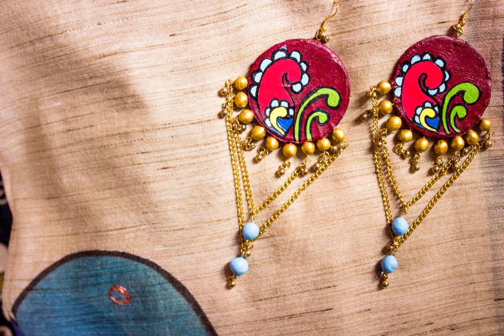 Beautiful Round Dangling Terracotta Earring - Panigh Tradition in You Jewellery