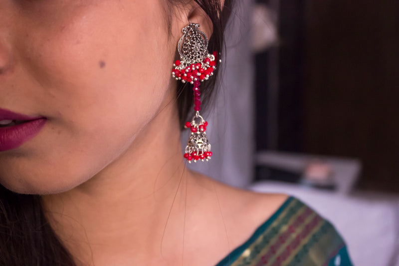Red Beads Dangling Jhumki - Panigh