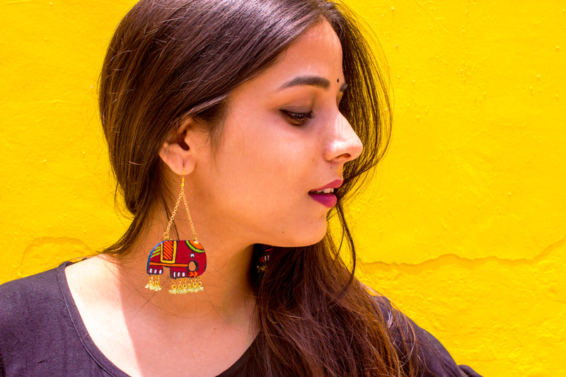 Elephant Hand-Crafted Terracotta Earring - Panigh