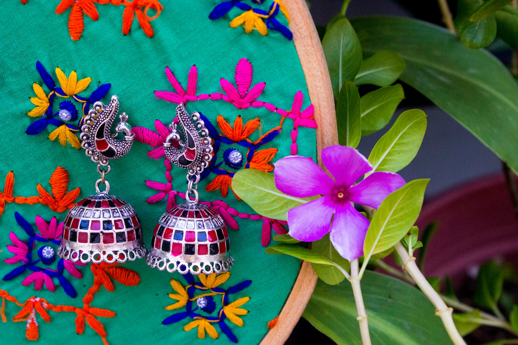 Beautiful Red-Black Hand-painted Jhumka - Panigh Tradition in You Jewellery