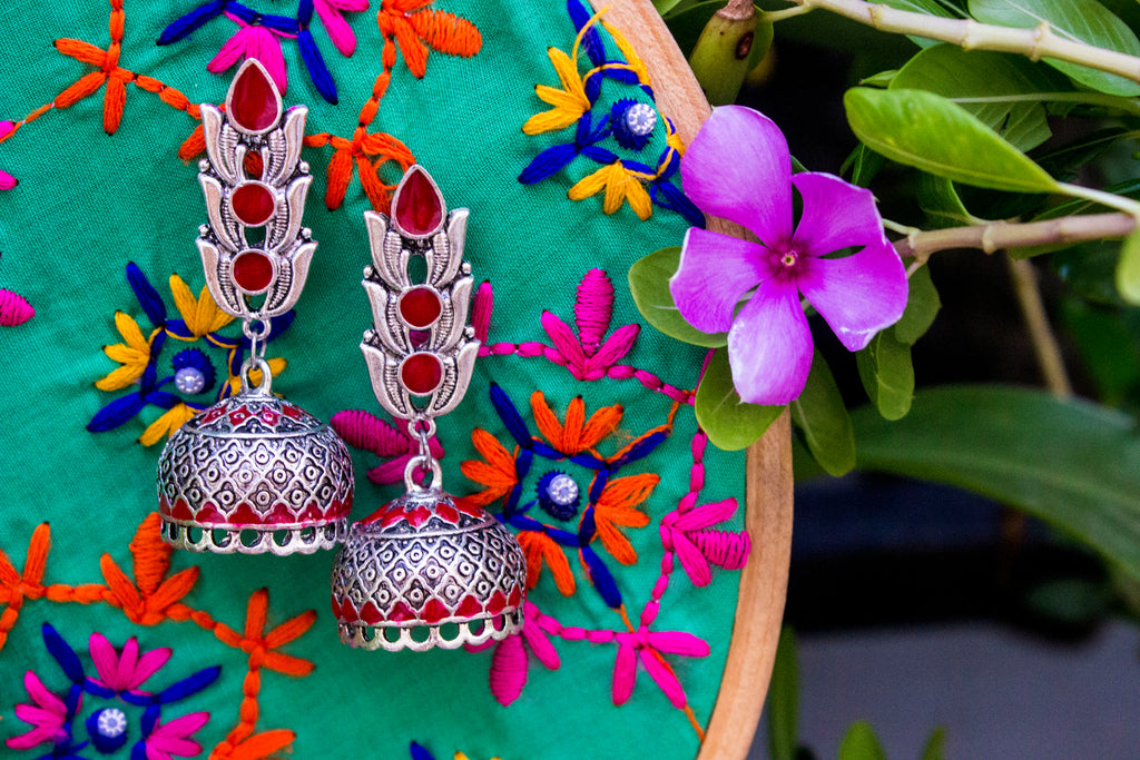 Beautiful Red Hand-painted Jhumka - Panigh