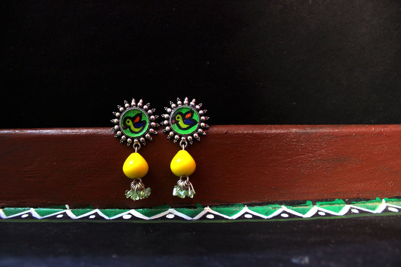 Small Hand-painted Earring with Beads - Panigh Tradition in You Jewellery