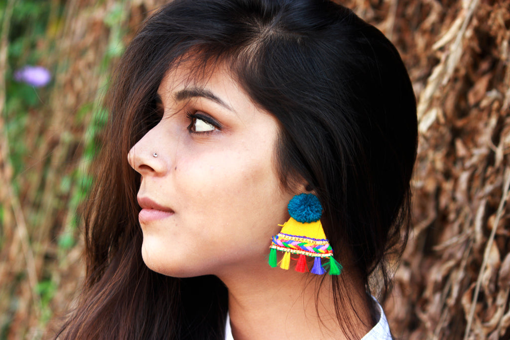 Pom Pom Triangle Fabric Earrings - Panigh Tradition in You Jewellery