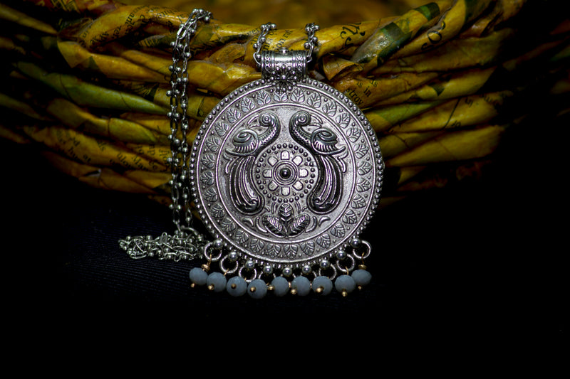 Peacock Round German Silver Necklace - Panigh Tradition in You Jewellery
