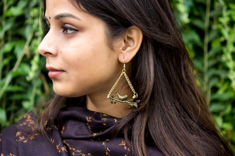 Lovely Bird Brass Earrings - Panigh Tradition in You Jewellery
